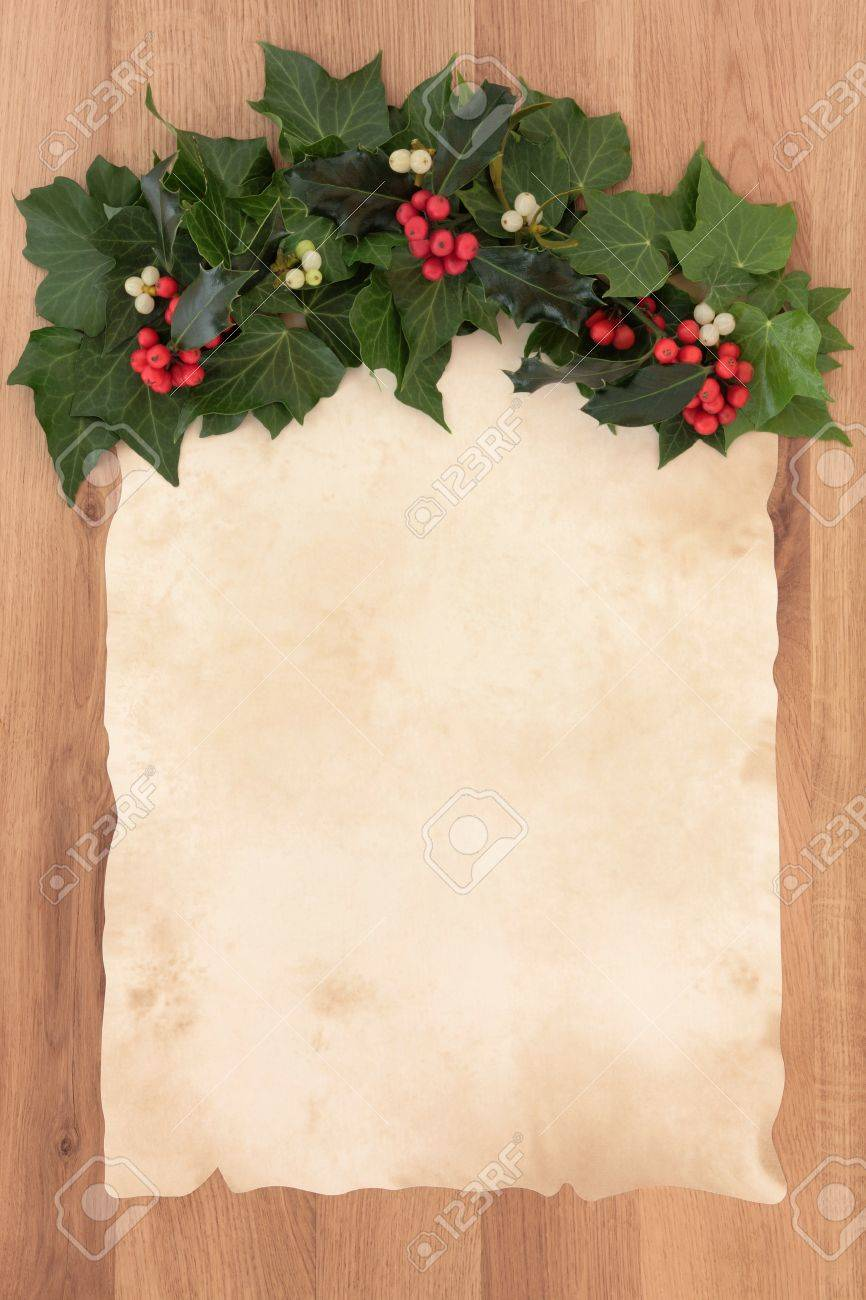 Christmas Letter Border.Christmas Parchment Blank Letter With Border Of Holly Ivy And
