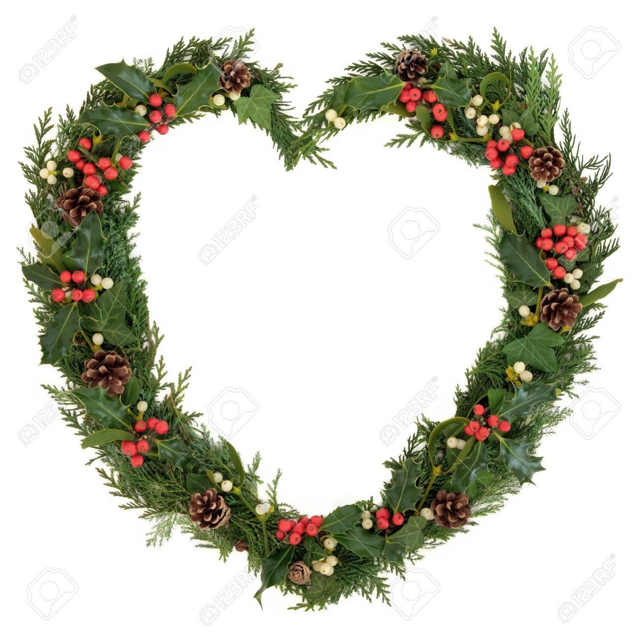 Christmas Heart Wreath.Christmas Heart Wreath With Holly Mistletoe Ivy Pine Cones