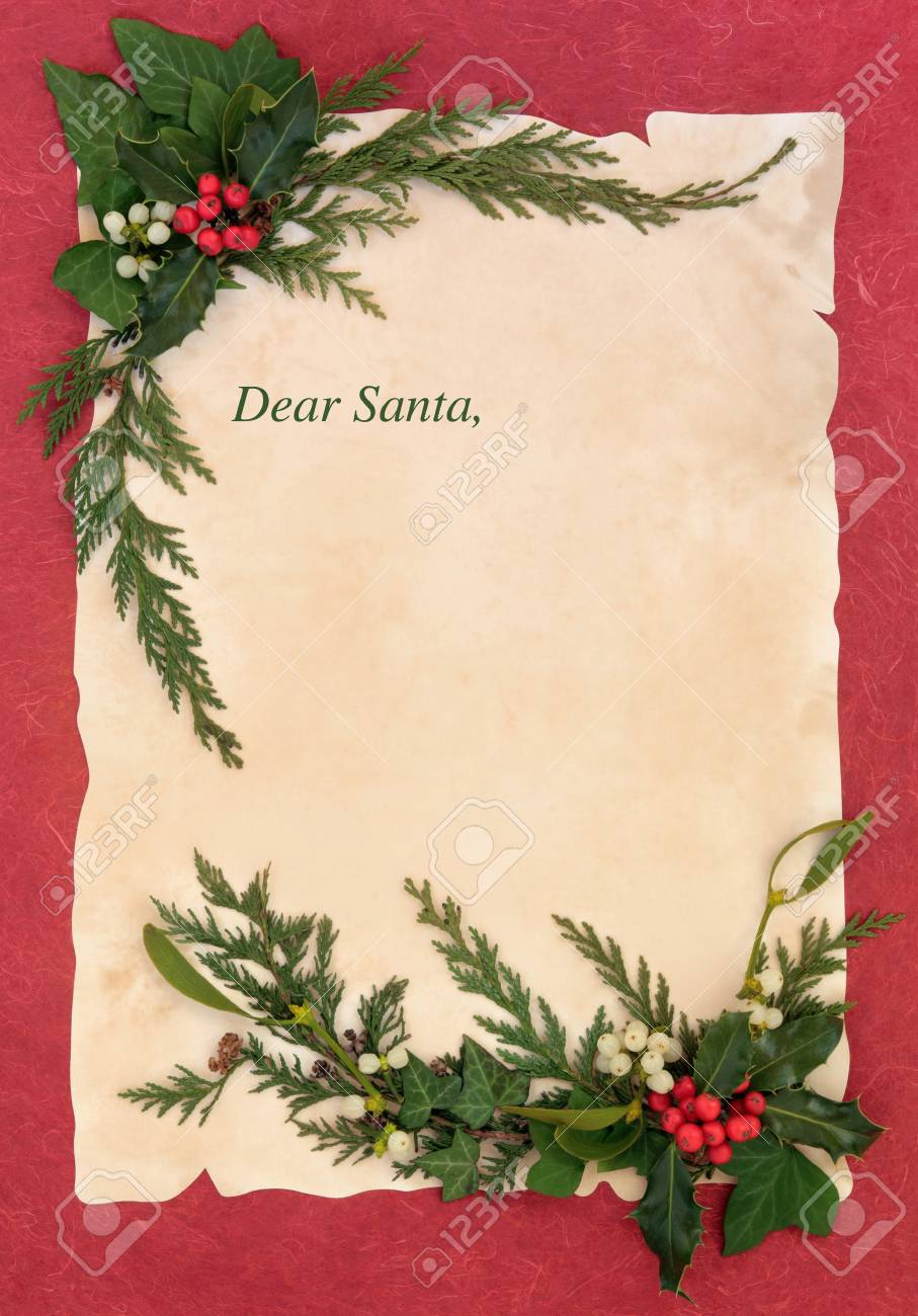 Christmas eve letter to santa claus with border of holly and stock christmas eve letter to santa claus with border of holly and winter greenery stock photo spiritdancerdesigns Images