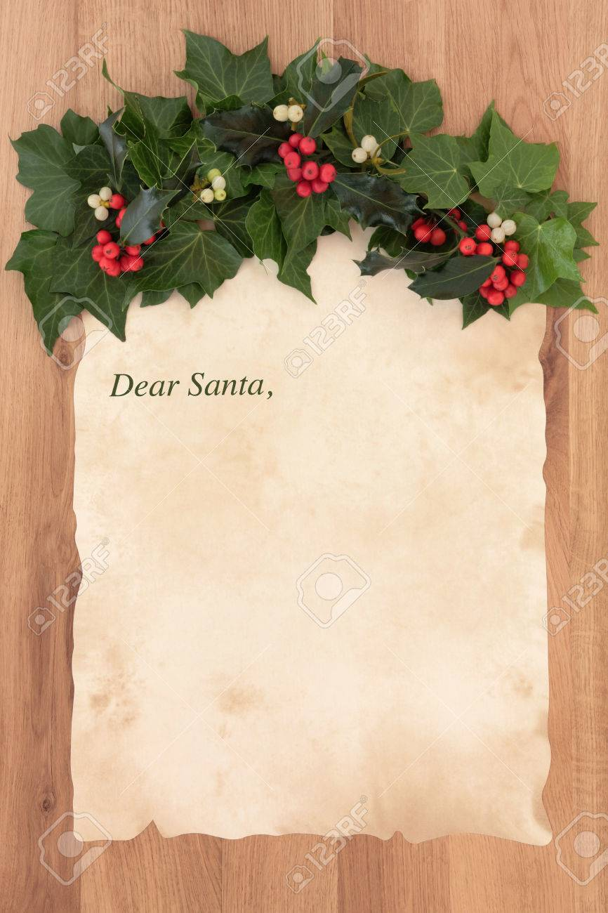 Letter to santa claus on old parchment paper with border of holly letter to santa claus on old parchment paper with border of holly ivy and mistletoe spiritdancerdesigns Choice Image