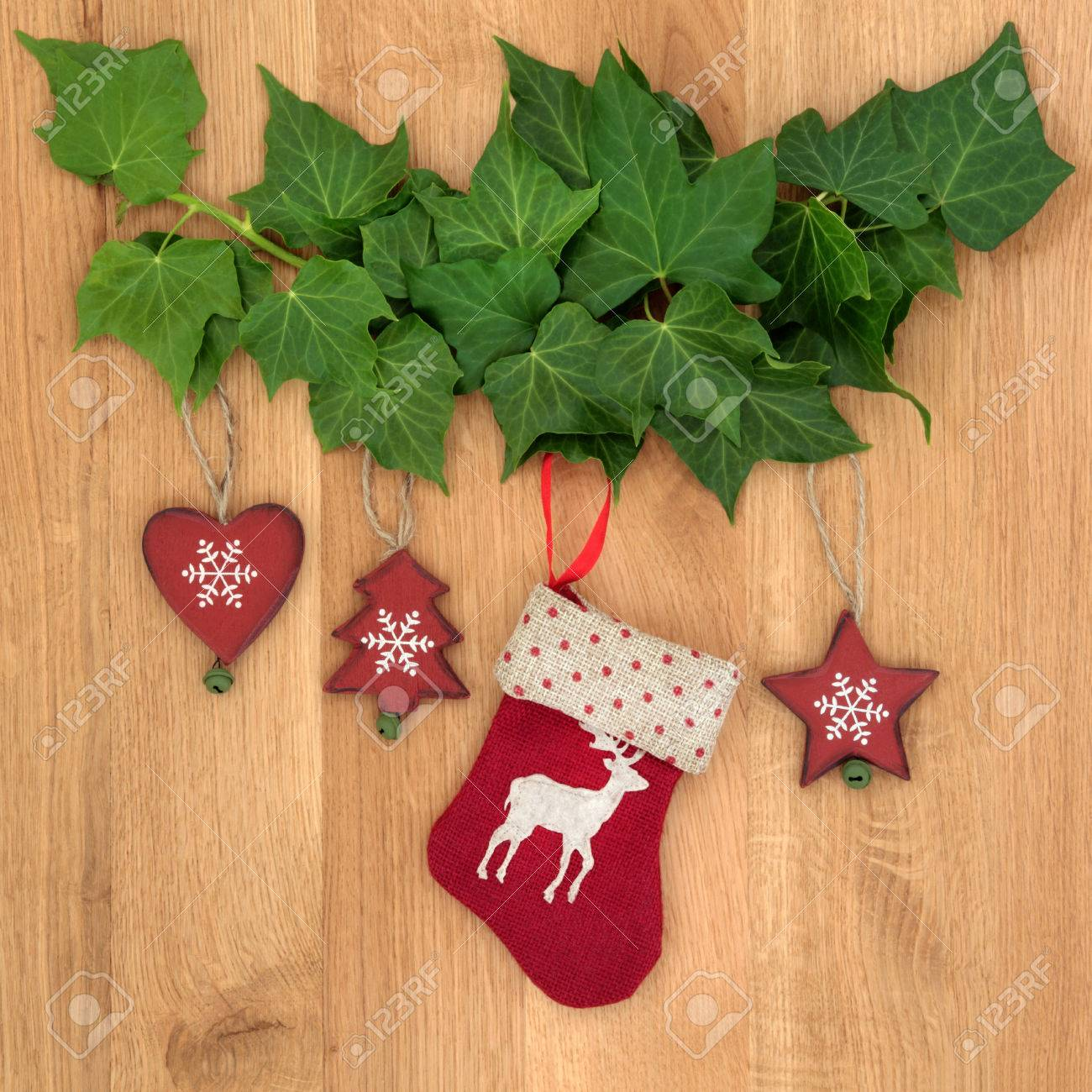 Christmas Eve Symbols Of Red Stocking Tree Star And Heart With