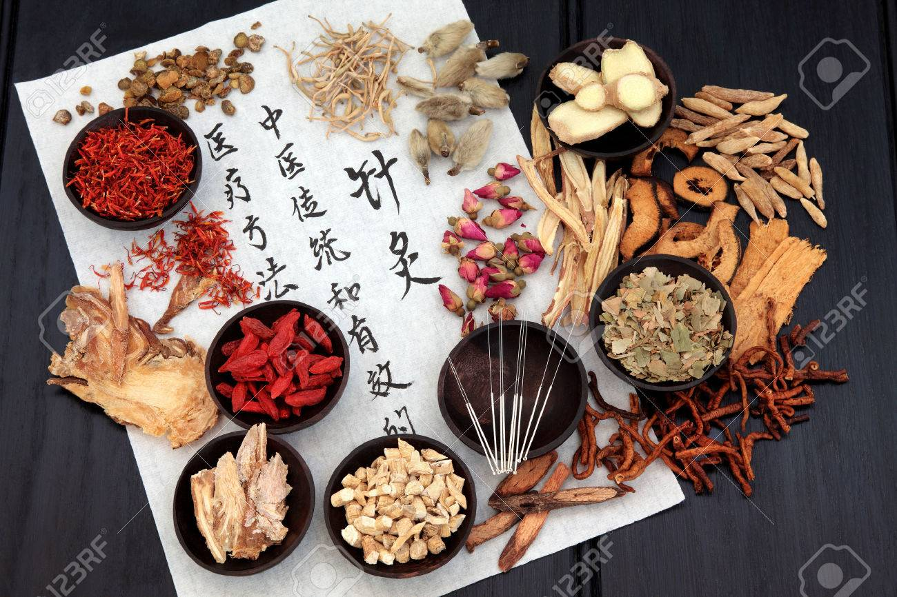Mandarin calligraphy script on rice paper describing acupuncture chinese medicine as a traditional  and effective medical solution. Stock Photo - 25660355