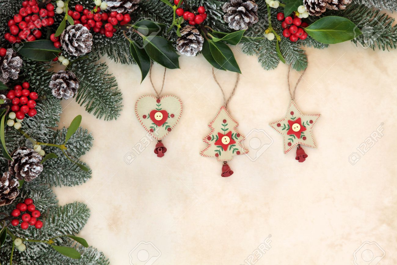 old fashioned christmas tree decorations with winter floral border