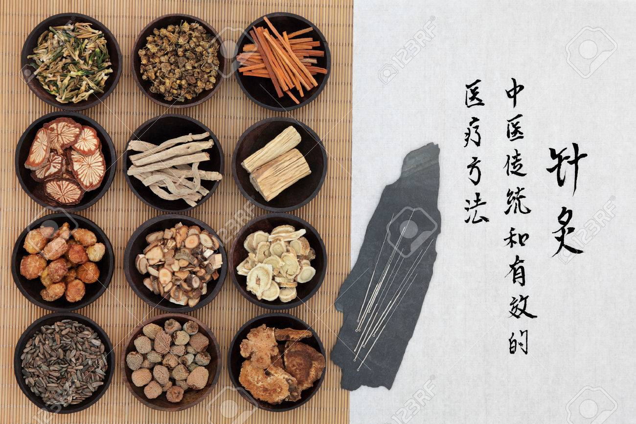 Chinese herbal treatment - Chinese Medicine Chinese Herbal Medicine With Acupuncture Needles And Calligraphy Script Translation Describes Acupuncture