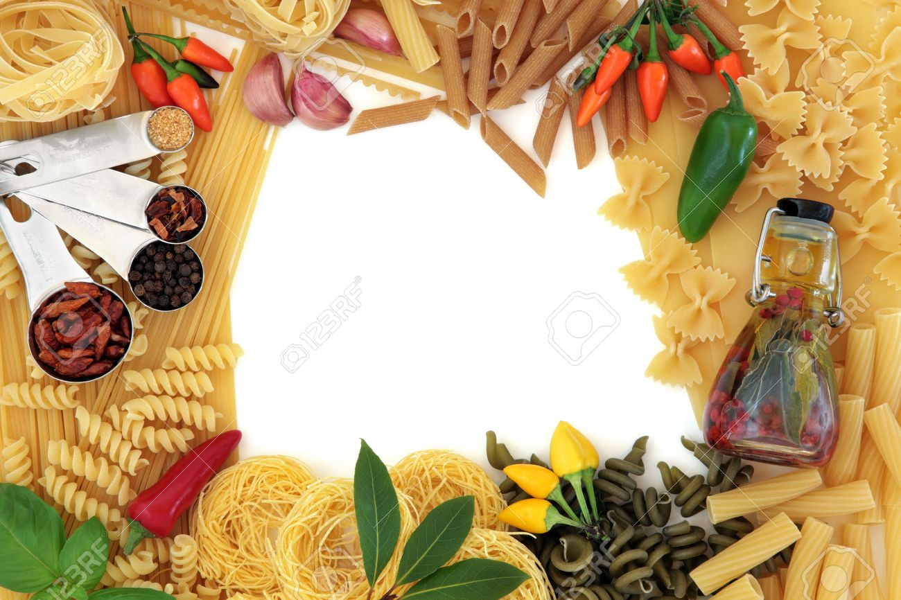 Italian Pasta And Mediterranean Food Ingredients Forming An Abstract ...