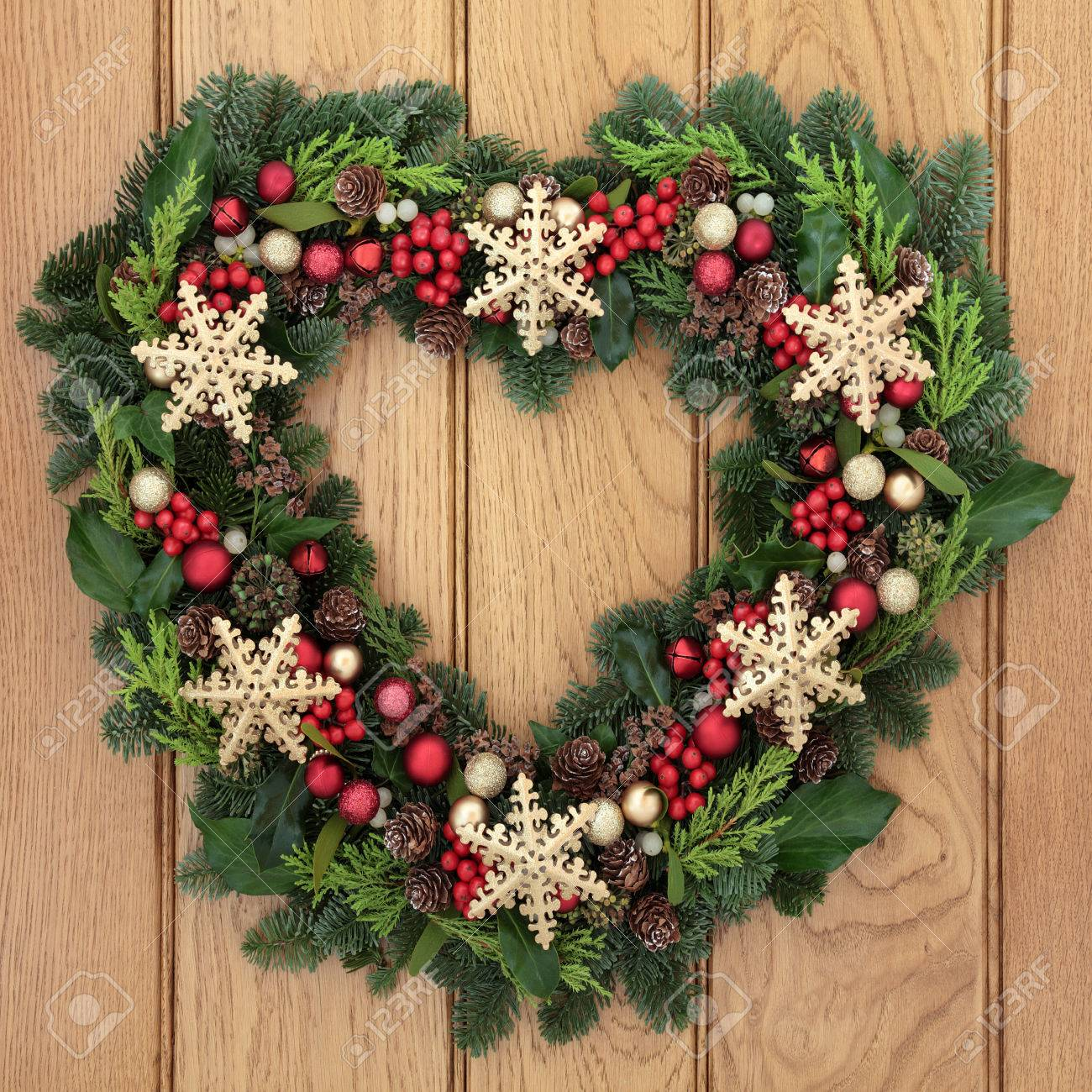 Christmas Heart Wreath.Christmas Heart Shaped Wreath With Gold Snowflake Bauble Decorations