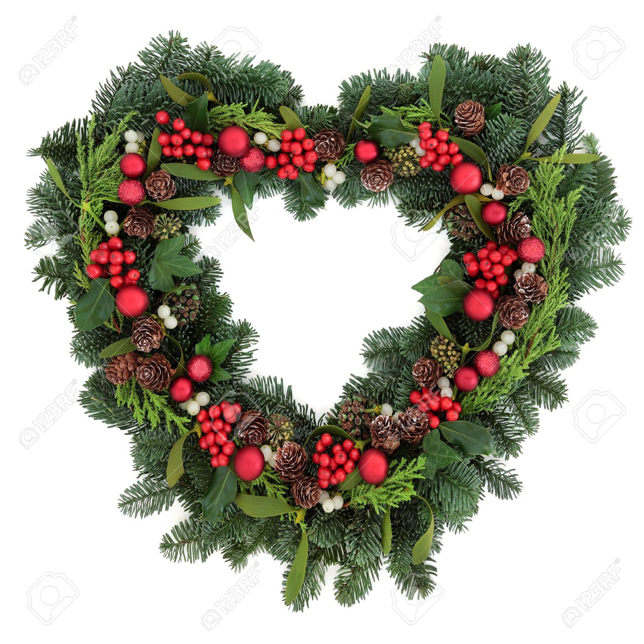 Christmas Heart Wreath.Heart Shaped Christmas Wreath With Red Bauble Decorations Holly