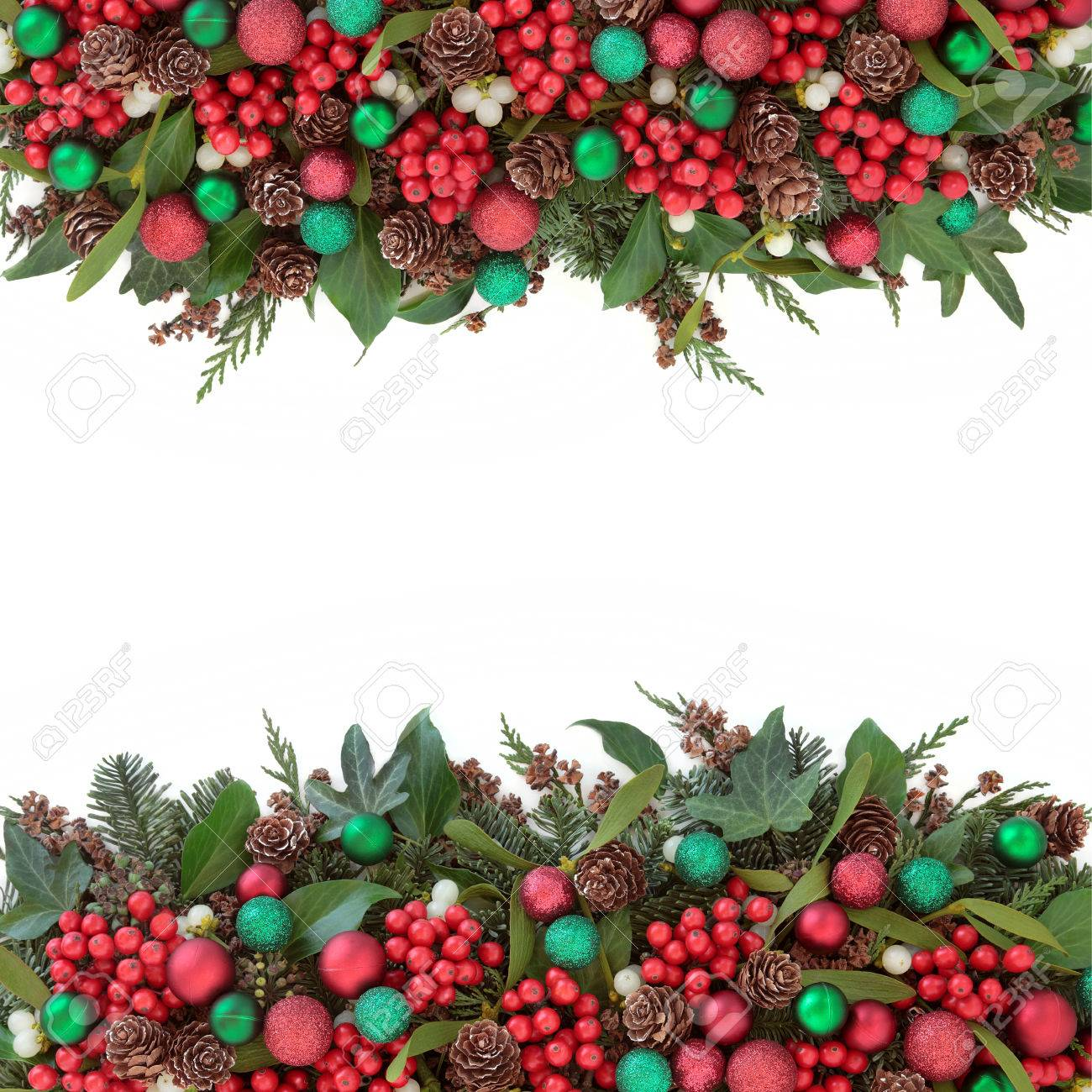 Why is holly a traditional christmas decoration - Christmas Background Border With Red Bauble Decorations Holly Mistletoe Ivy Pine Cones