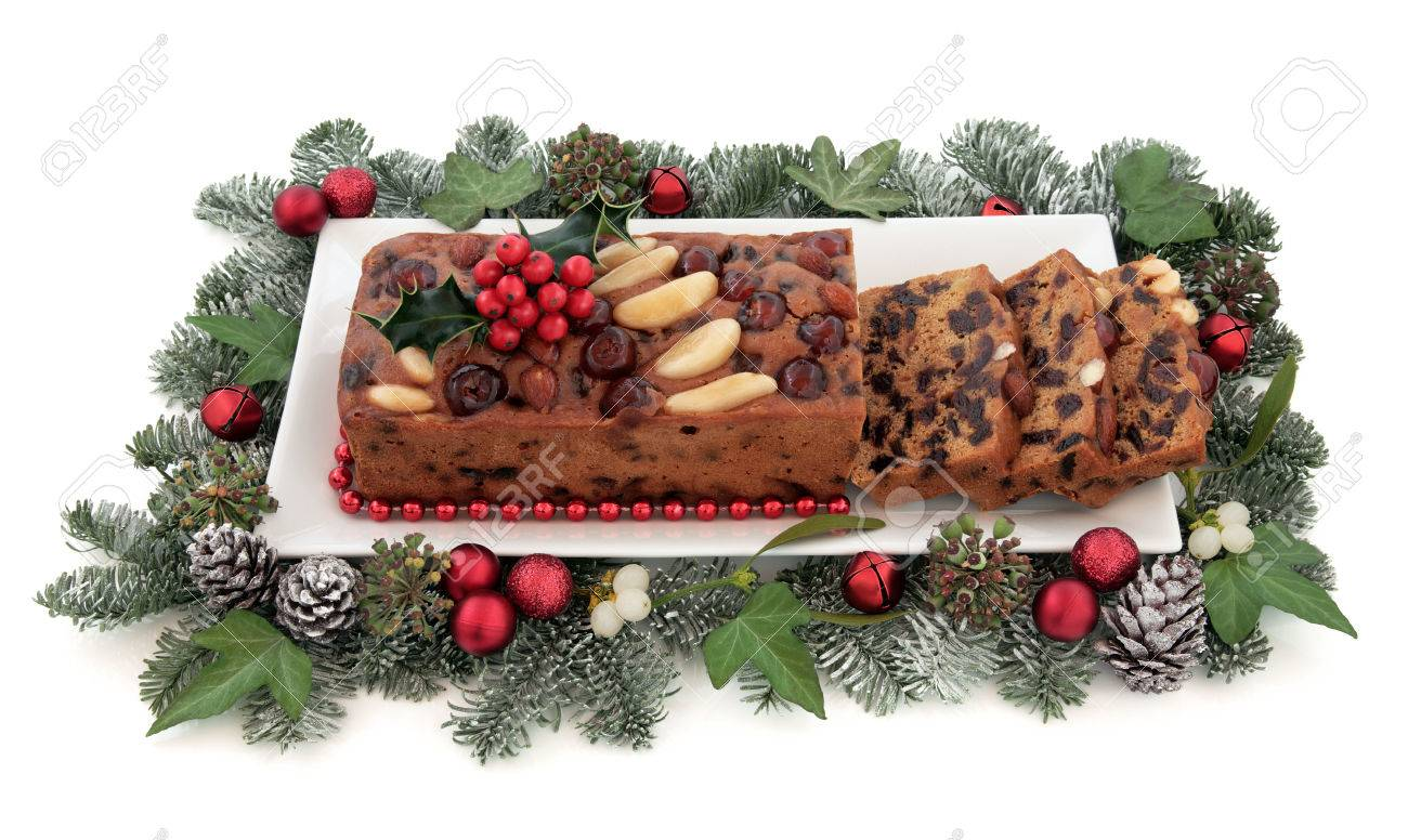 Genoa Cake With Holly Mistletoe Christmas Red Bauble Decorations