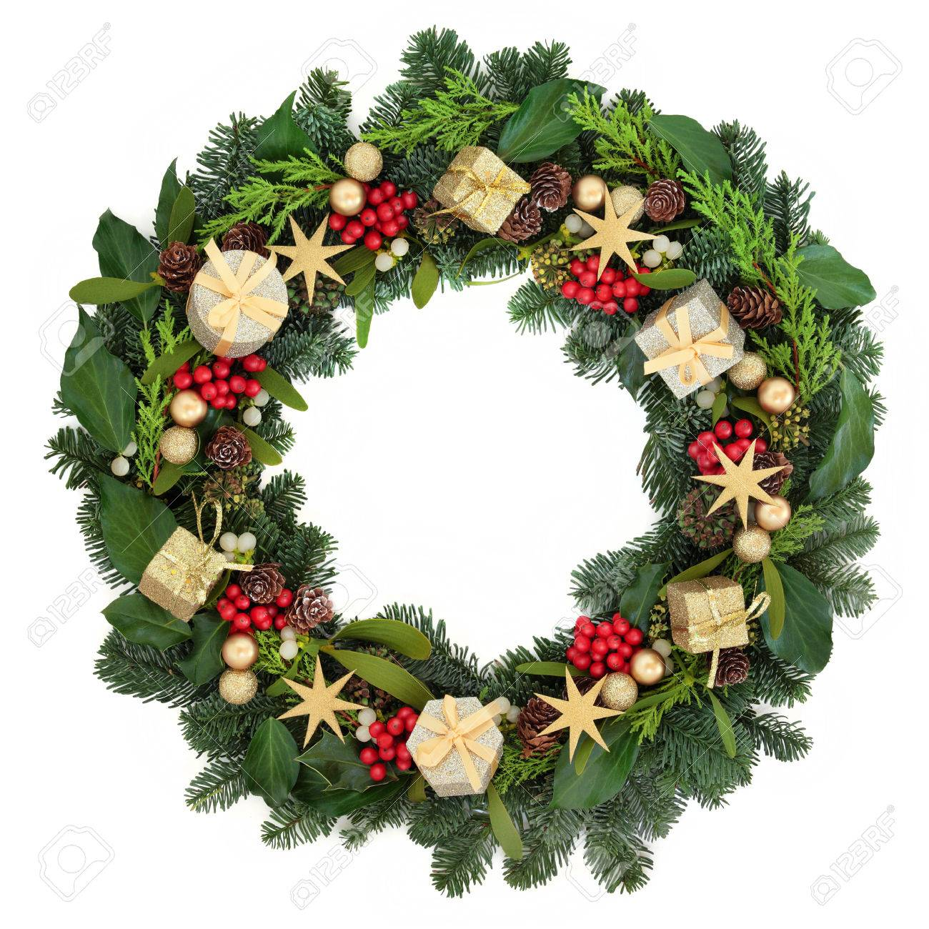 Christmas Wreath With Gold Bauble Decorations Holly Ivy Mistletoe