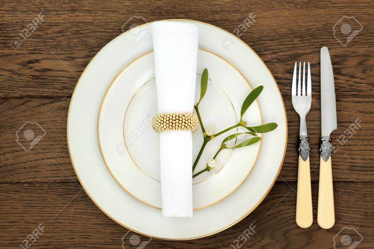 Christmas Dinner Table Setting With Plates, Cutlery, Napkin And ...