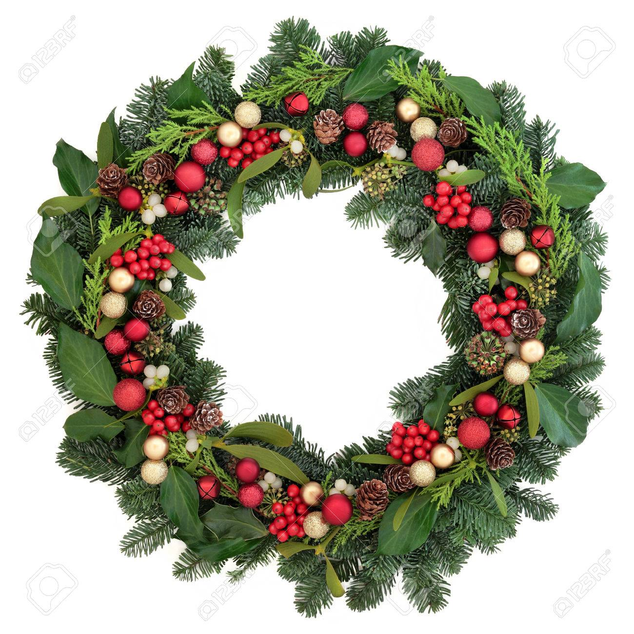 Christmas Wreath With Red Bauble Decorations Holly Ivy Mistletoe