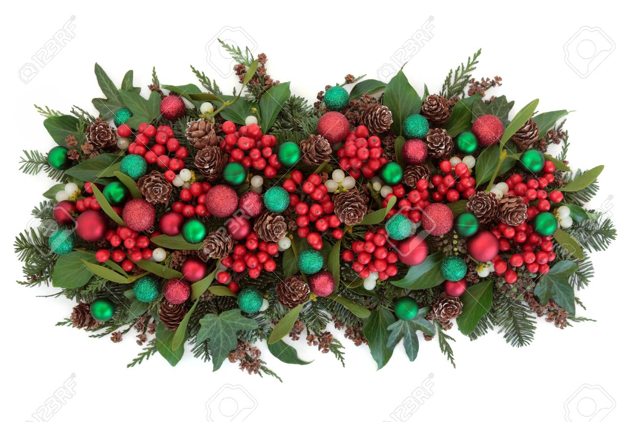 Christmas Bauble Decorations Holly Mistletoe Ivy Pine Cones