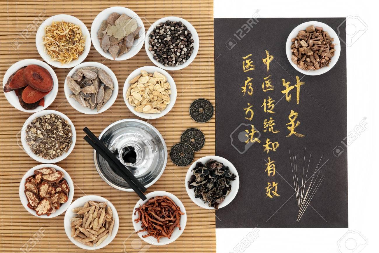 Chinesische Heilkräuterzutaten Akupunkturnadeln Moxa Sticks Und I