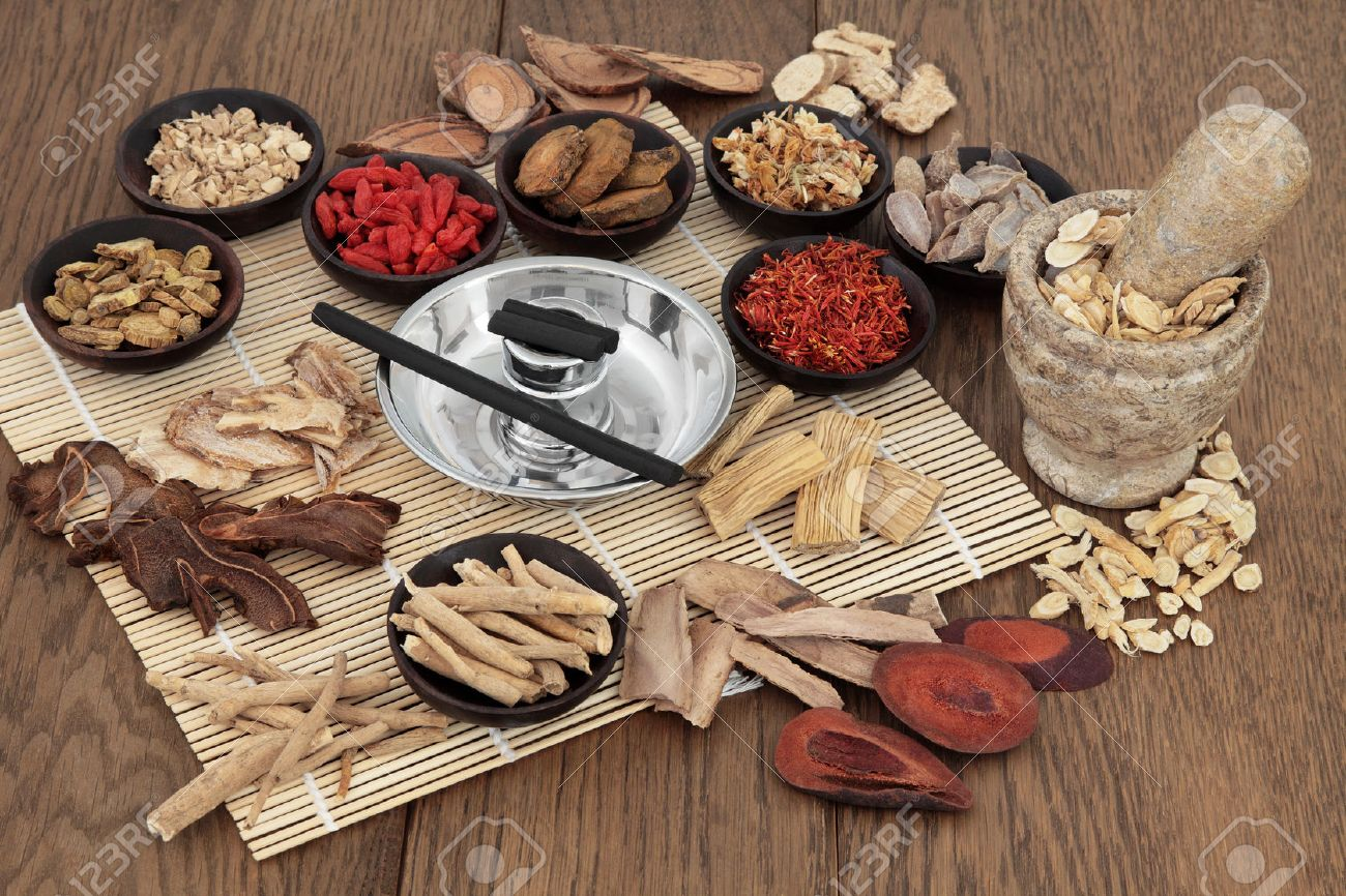 Chinese herbal treatment - Herbal Medicine Moxa Sticks And Chinese Herbs Used In Traditional Herbal Medicine With Mortar And