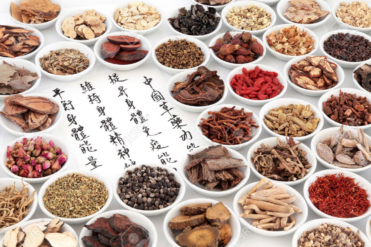 Chinese herbal treatment - Herbal Medicine Chinese Herbal Medicine Ingredients With Calligraphy On Rice Paper Translation Reads As