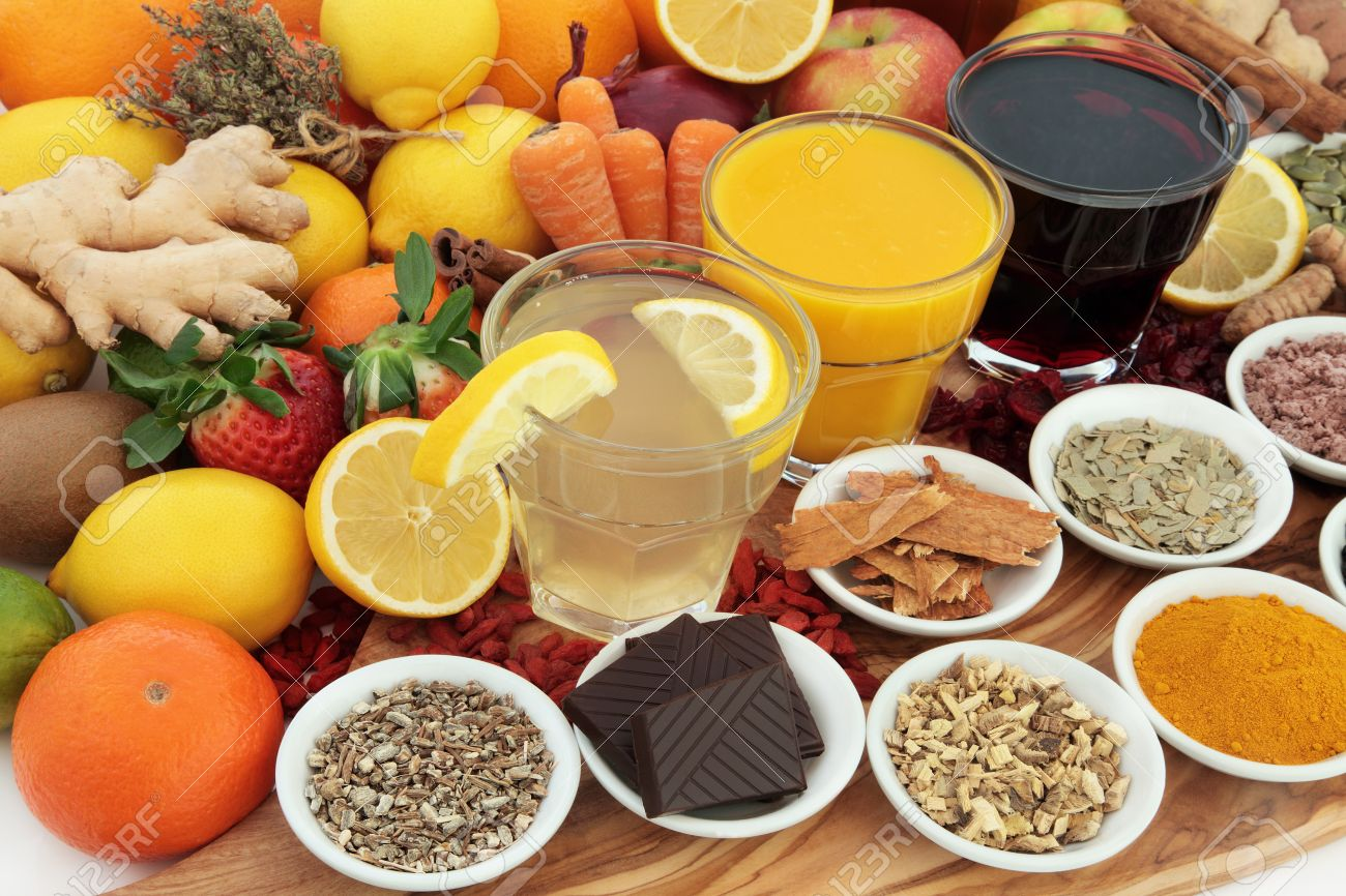 Buy herbal highs - Large Health Food Selection With Drinks And Herbal Medicine For Cold And Flu Remedies High