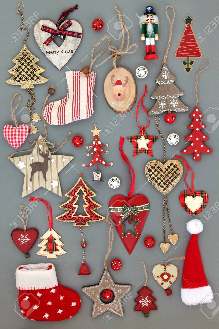 Old Christmas Decorations.Abstract Collection Of Old Fashioned Christmas Tree Baubles And