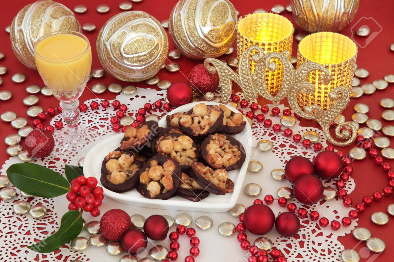 Decoration Biscuit Noel.Christmas Still Life With Florentine Biscuits Gold Glitter Noel