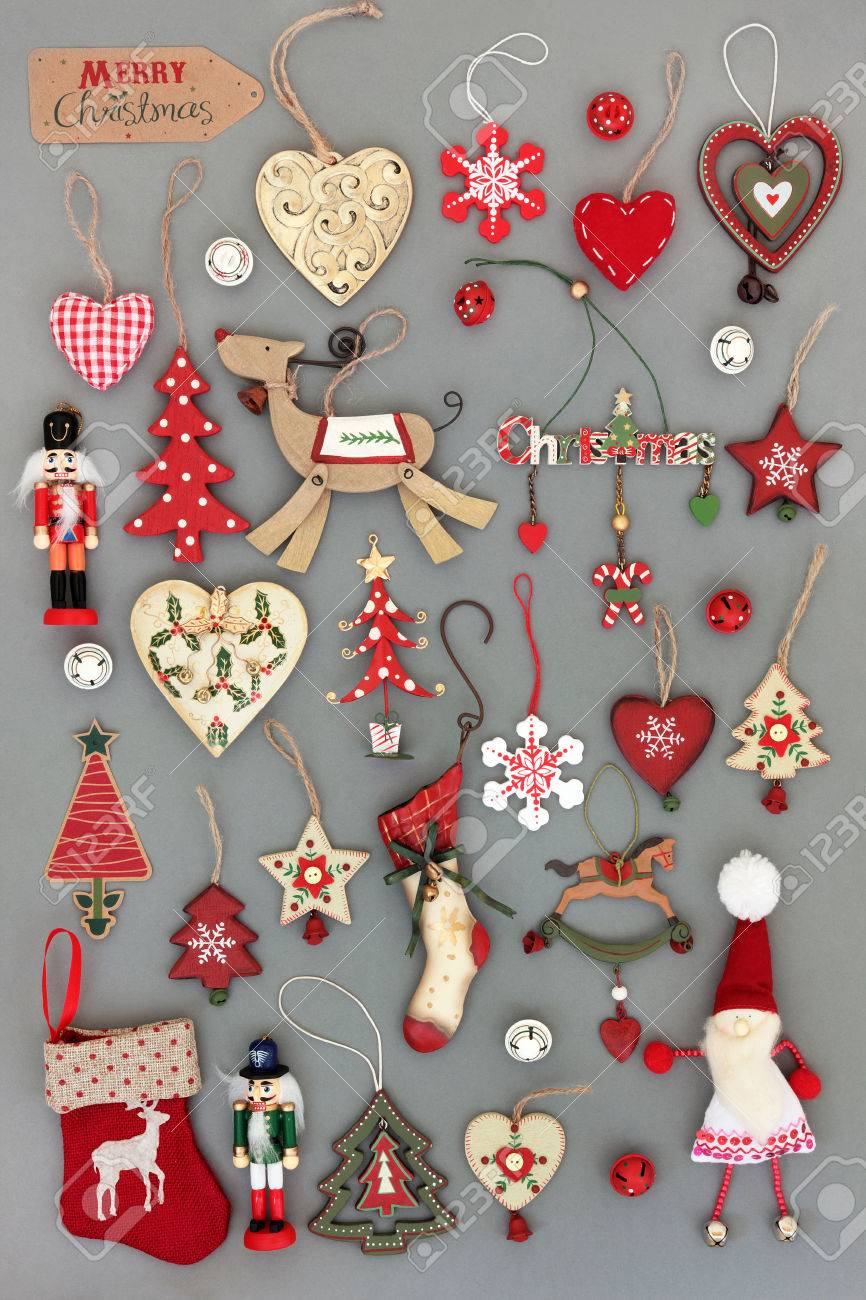 Old Fashioned Christmas Tree Baubles And Decorations Over Grey ...