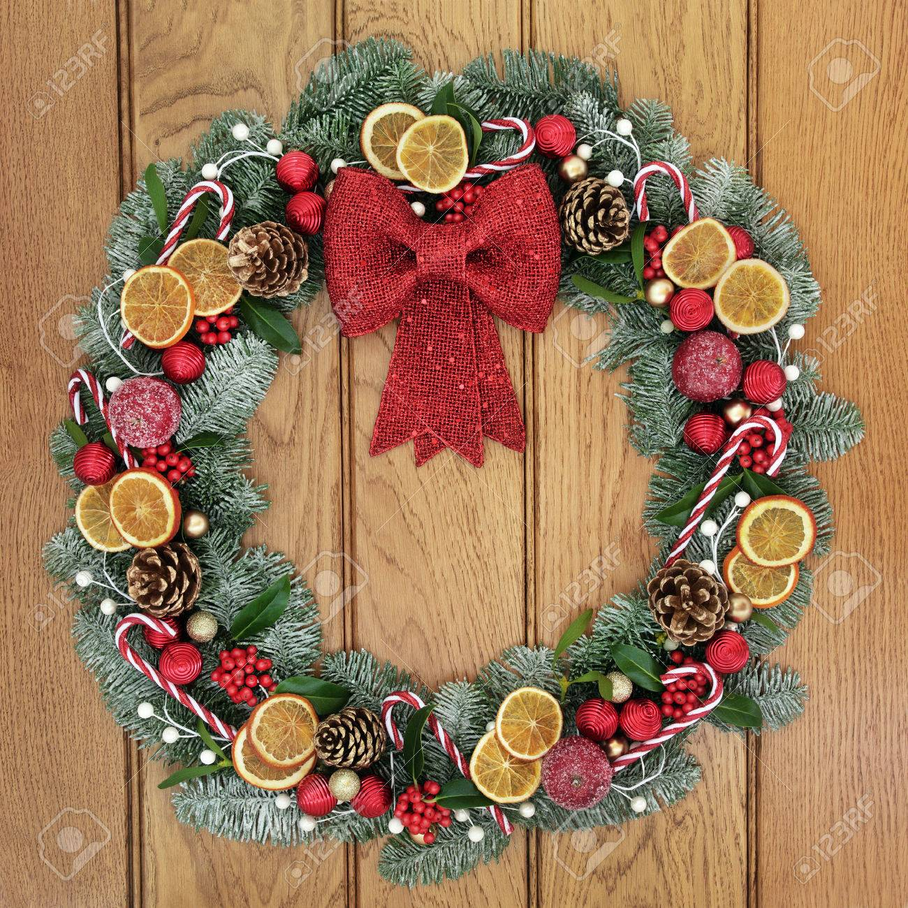 Christmas Wreath With Red Bow Decoration Dried Fruit Candy Stock Photo Picture And Royalty Free Image Image 63270156