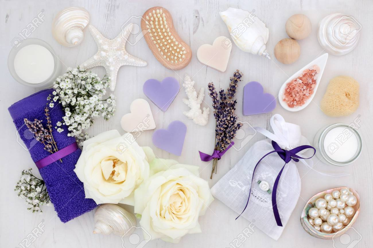 Lavender And Rose Flowers With Spa And Bathroom Accessories With ...