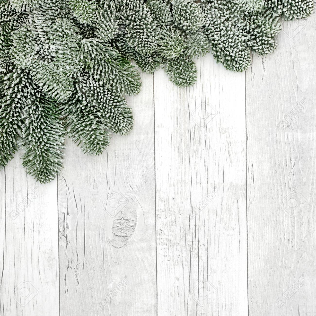 Snow Covered Fir Background Christmas Border On Rustic White Wood Stock Photo