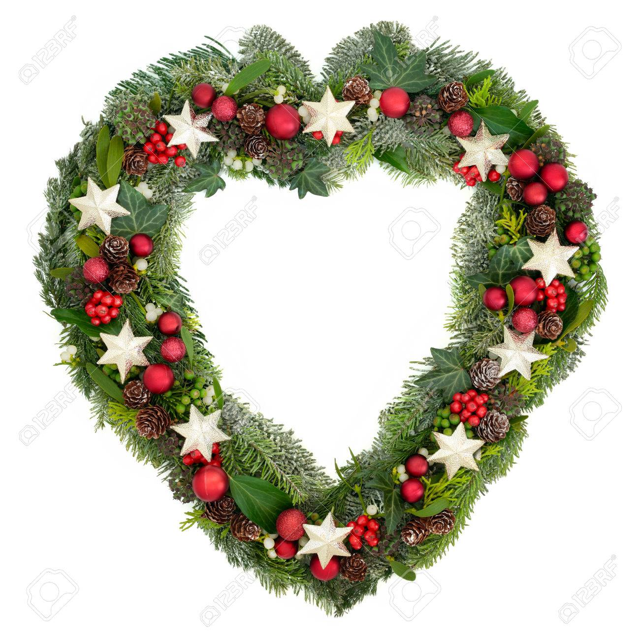 Christmas Heart Wreath.Heart Shaped Christmas Wreath With Star And Bauble Decorations