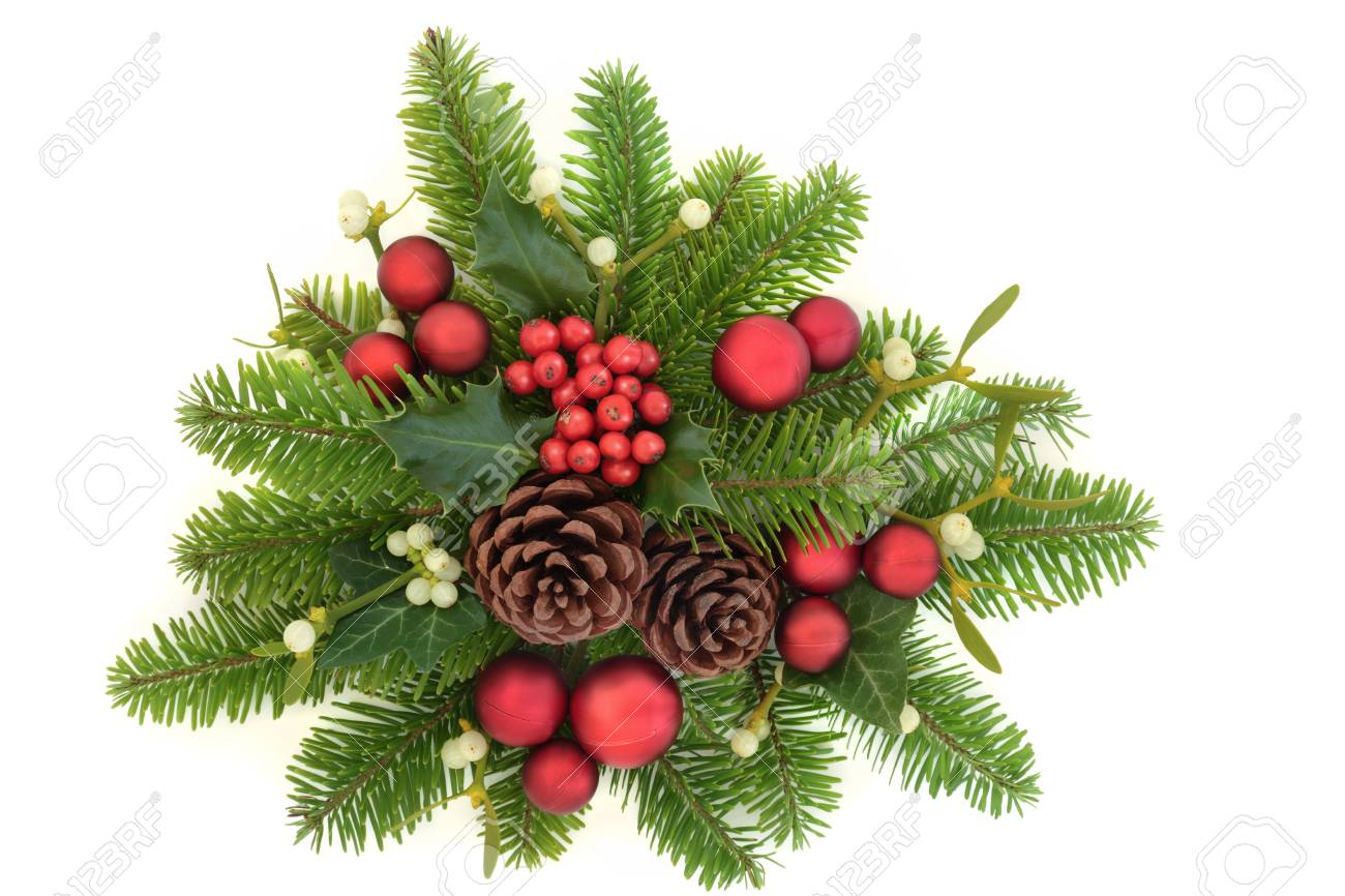 Christmas Greenery.Decorative Christmas Greenery With Holly Ivy Mistletoe Fir