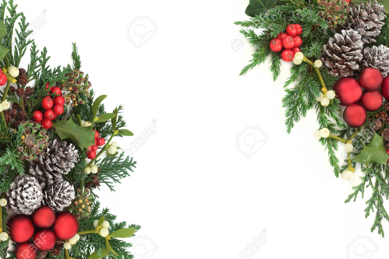 christmas decorative border with red bauble decorations holly ivy mistletoe cedar and