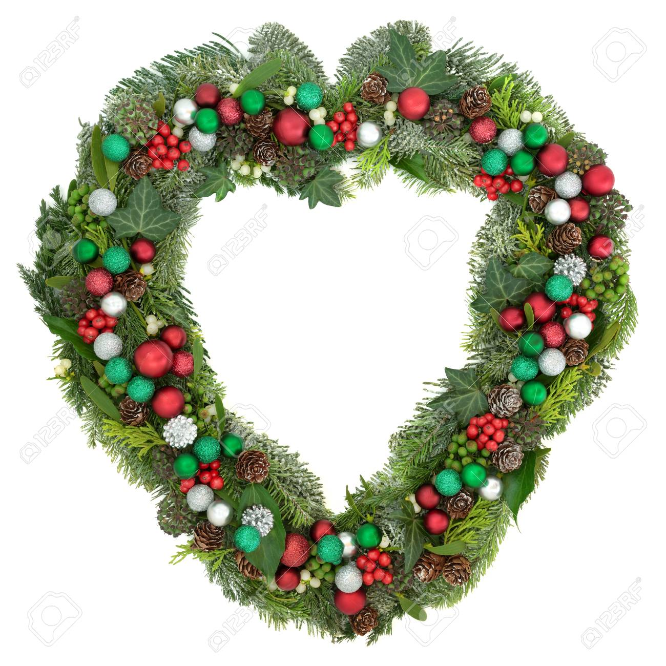 Christmas Heart Wreath.Christmas Heart Shaped Wreath Decoration With Red Green And