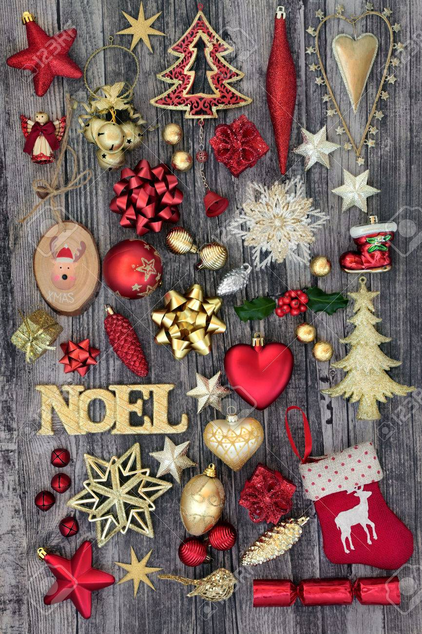 Christmas Gold Noel Sign With Old Fashioned And New Bauble ...