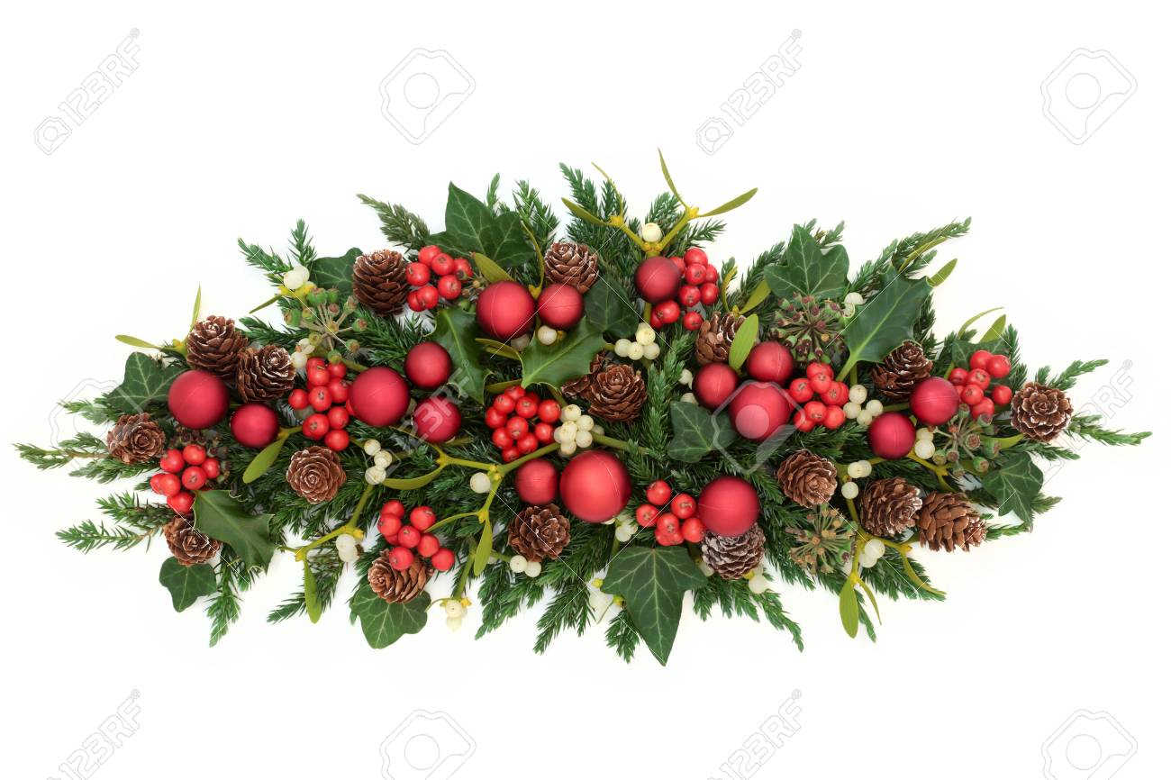 Christmas Decoration With Red Bauble Decorations Holly Ivy