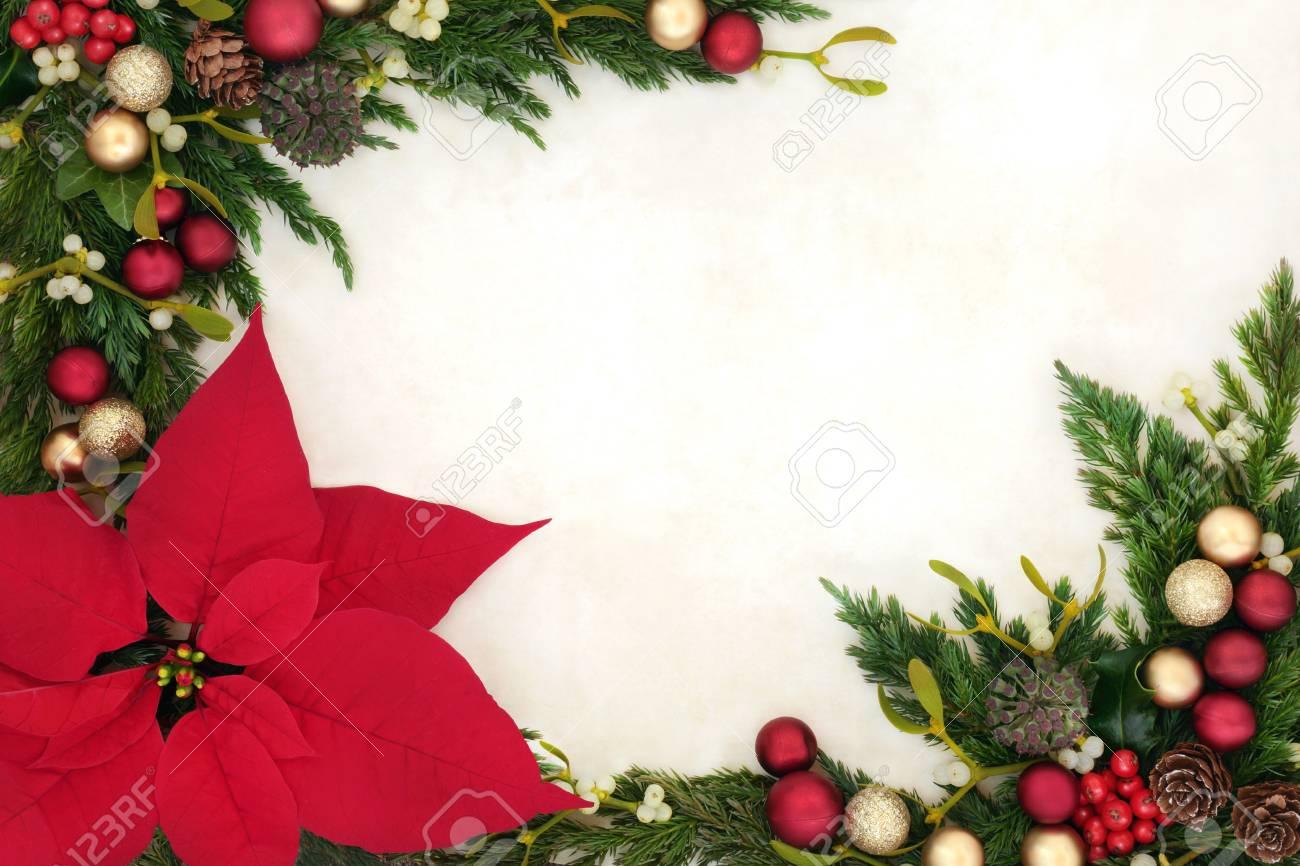 Frontiere De Noel Avec Fleur De Poinsettia Avec Des Decorations De