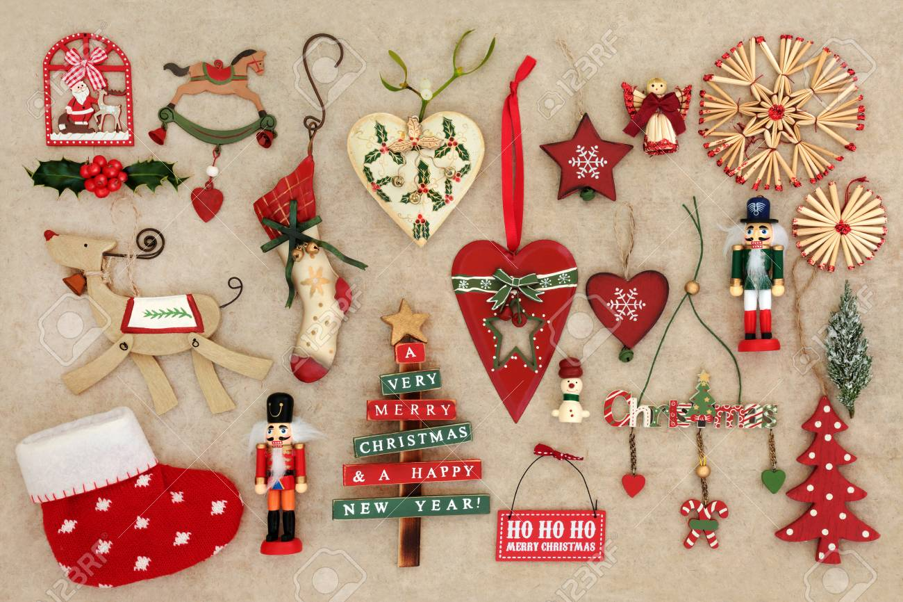 Old Fashioned Christmas Decorations On Handmade Hemp Paper ...