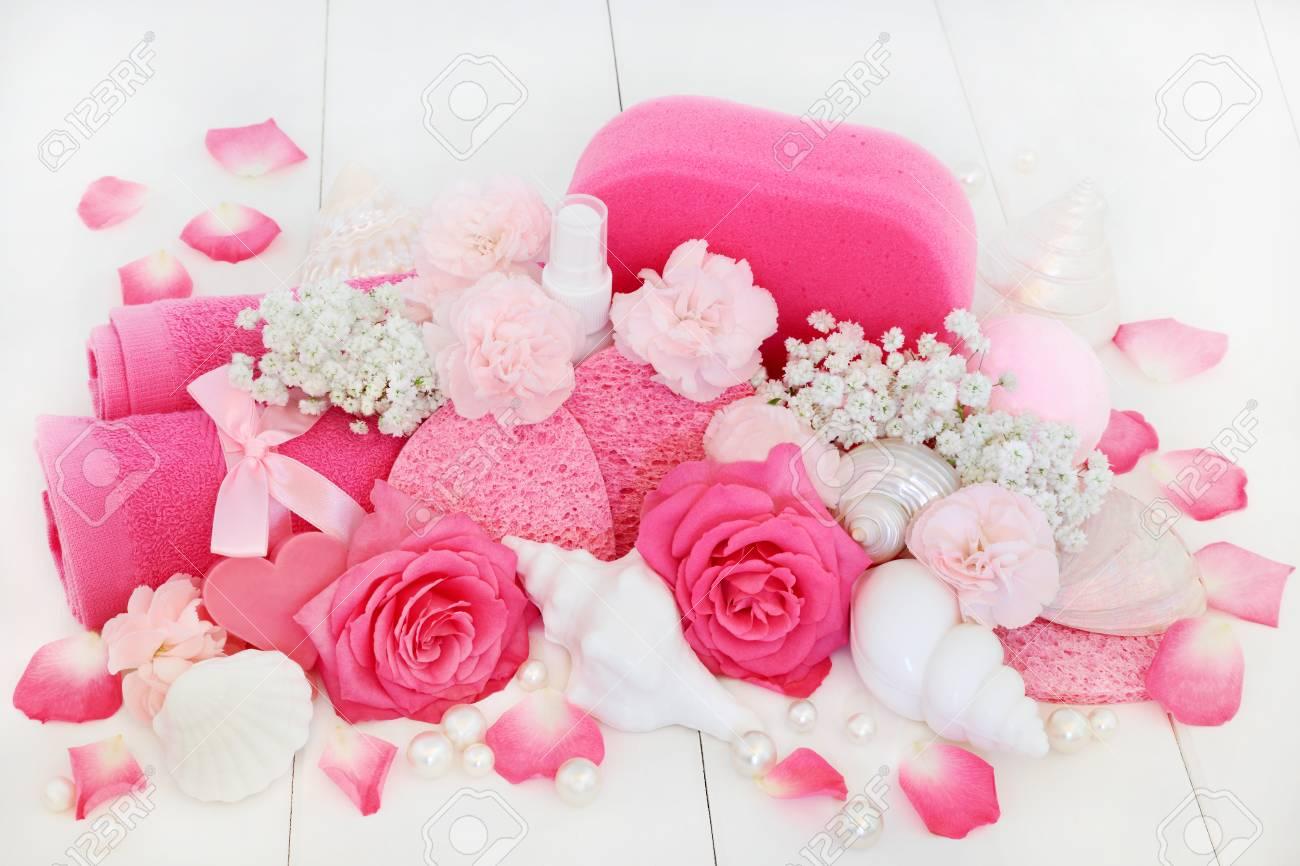 Salle De Bain Minerale ~ Produits De Soins De Beaut Spa Et Salle De Bain Avec Des Fleurs D