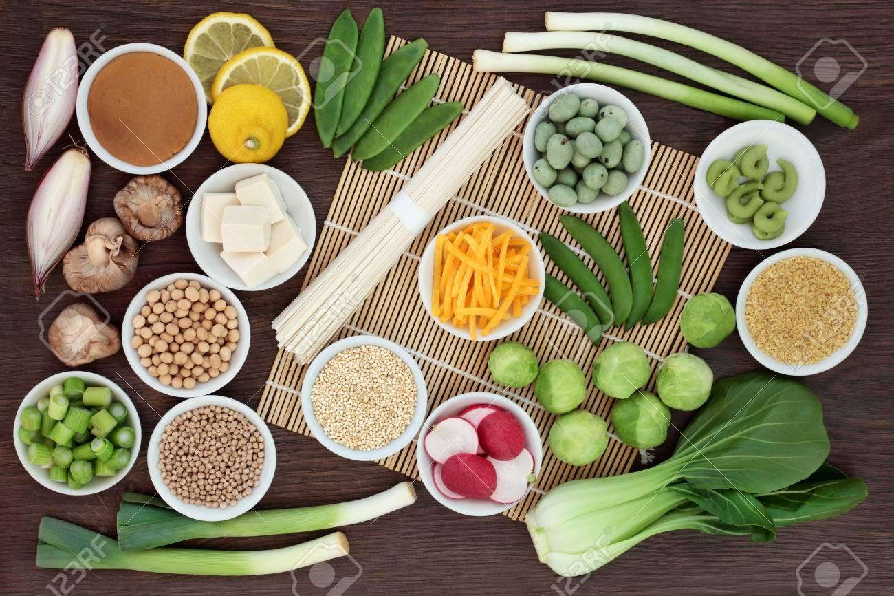 Macrobiotic Diet Food With Japanese Udon Noodles, Tofu, Miso ...