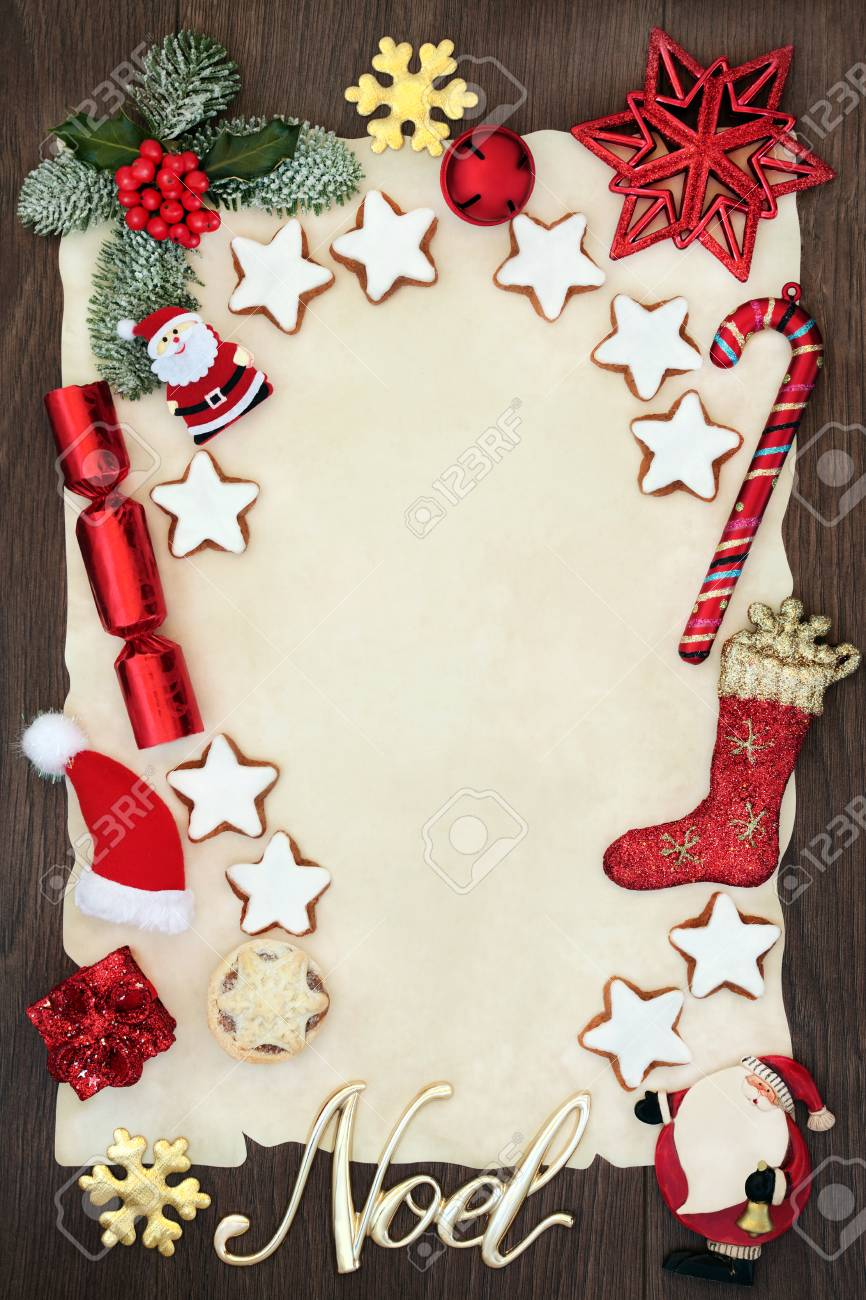 Christmas Blank Letter To Santa Claus Or Party Invitation Concept