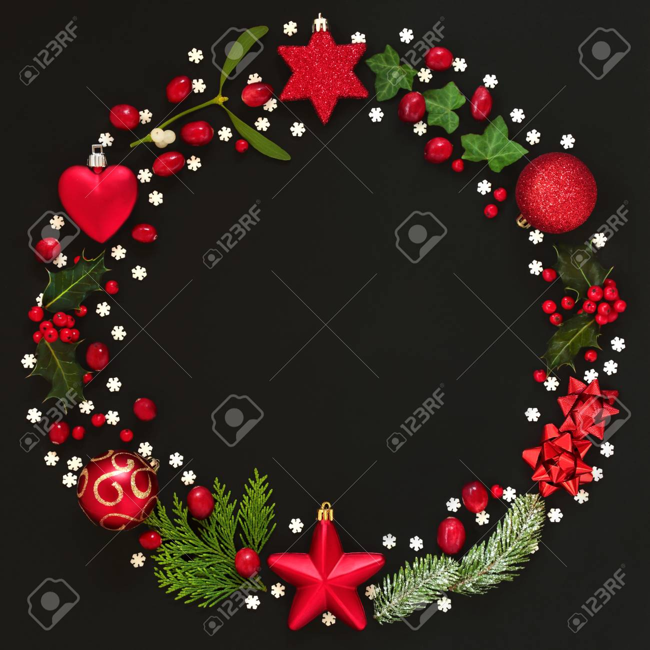 Abstract Christmas Wreath Garland With Winter Flora And Bauble