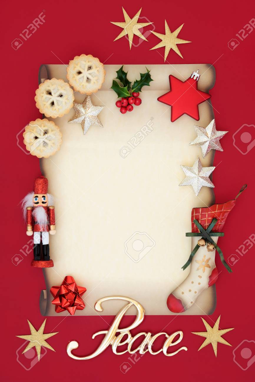 Peace Christmas Sign.Christmas Blank Letter With Peace Sign Mince Pies Holly Decorations