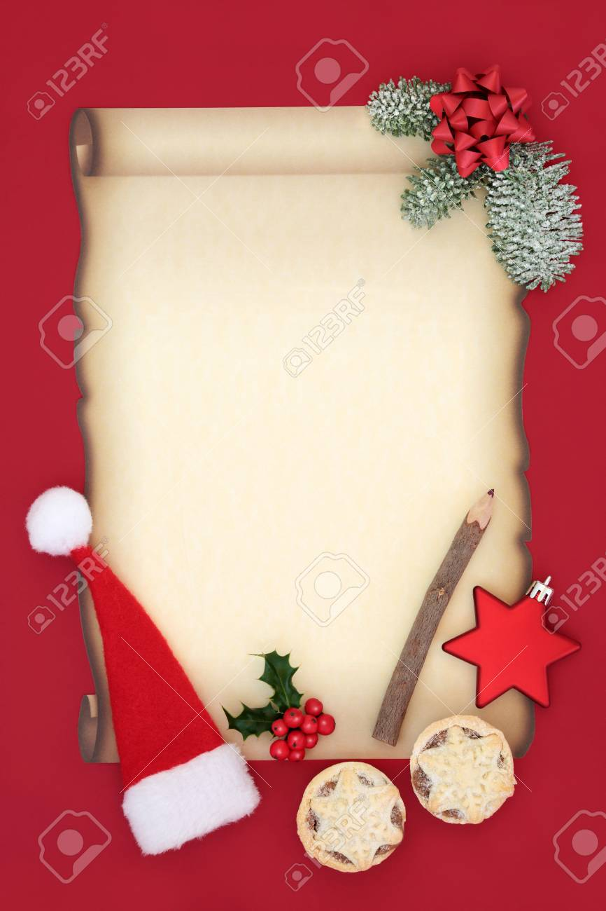 Letter To Father Christmas Or Invitation With Blank Parchment