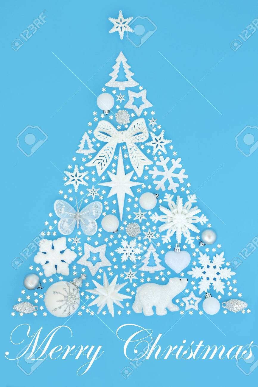 Abstract Merry Christmas Tree Decoration With White And Silver Stock Photo Picture And Royalty Free Image Image 130757260