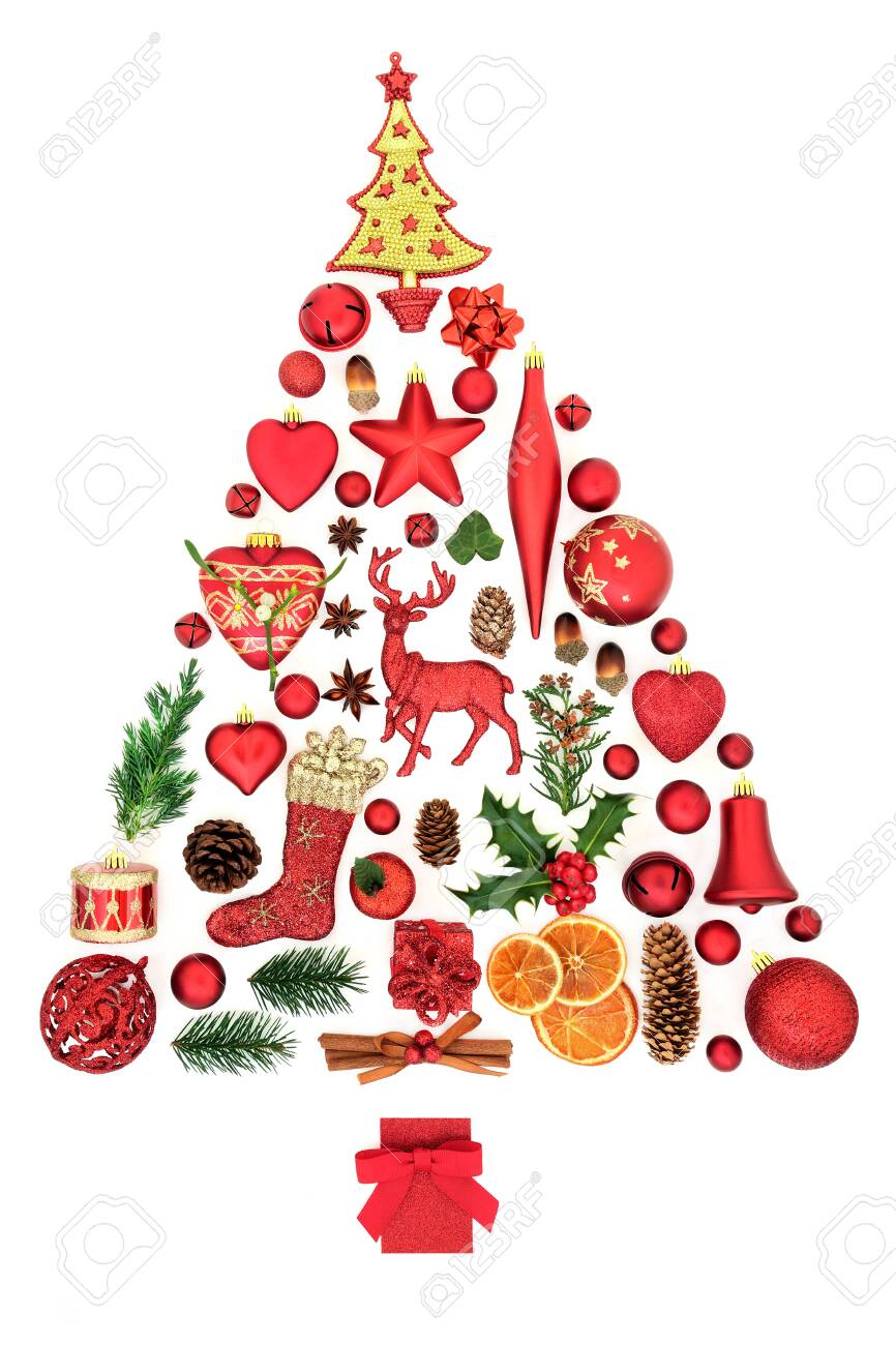 Abstract Christmas Tree Decoration With Baubles Food Winter Stock Photo Picture And Royalty Free Image Image 131302138