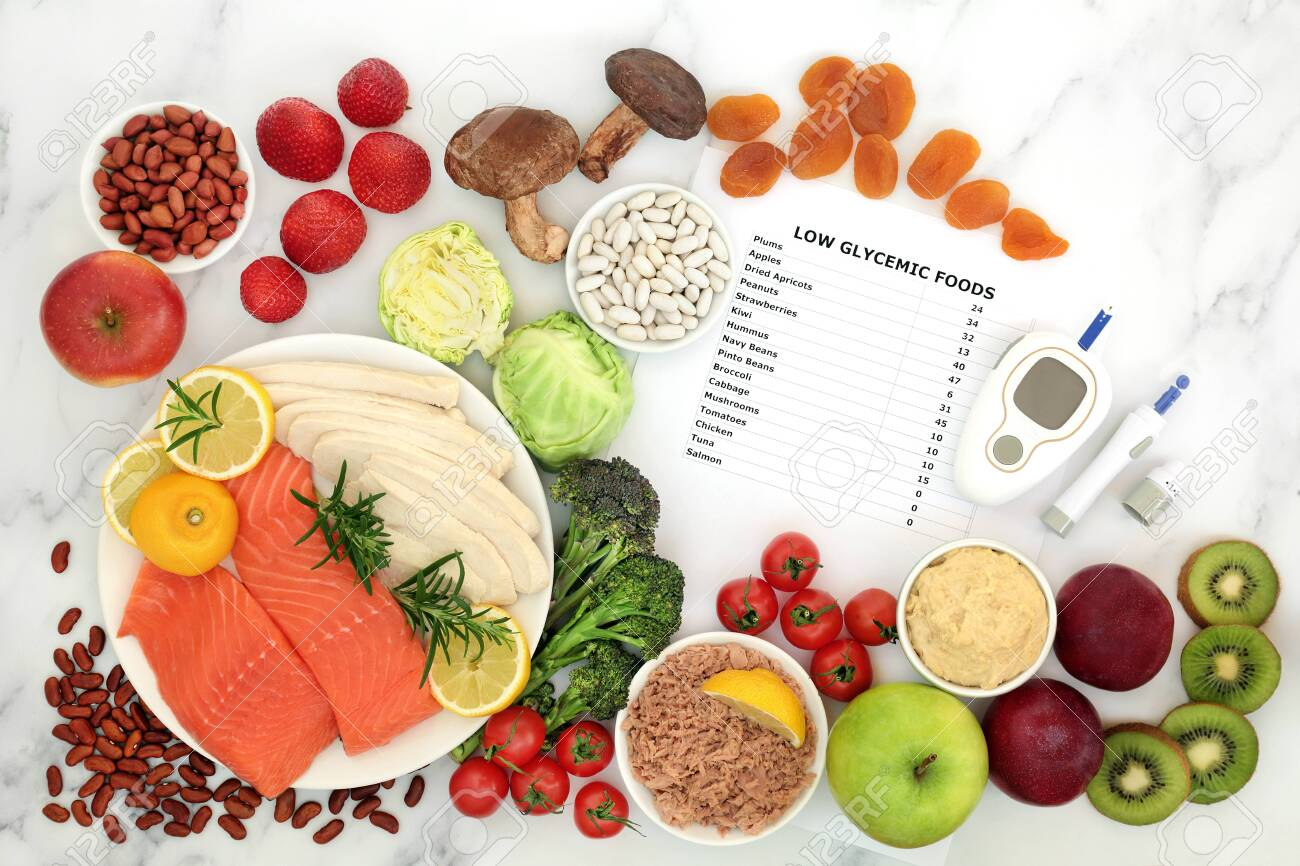 Low glycemic food for diabetics with blood sugar testing equipment & lancing device. Health foods below 55 on the GI index, high in vitamins, minerals, anthocyanins, antioxidants, smart carbs & omega 3 fatty acids. - 132167146