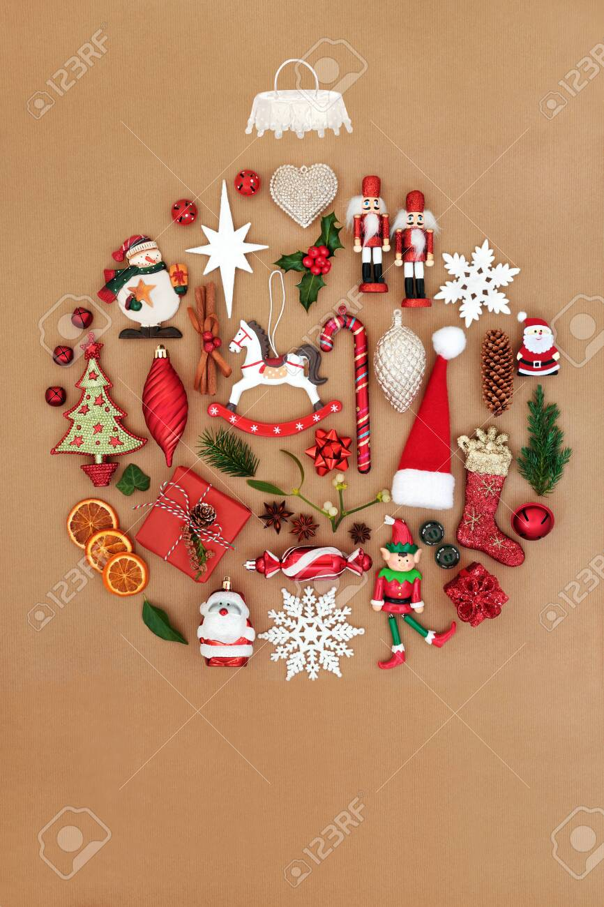 Retro Christmas Tree Decorations With Winter Flora Forming An Stock Photo Picture And Royalty Free Image Image 132518001