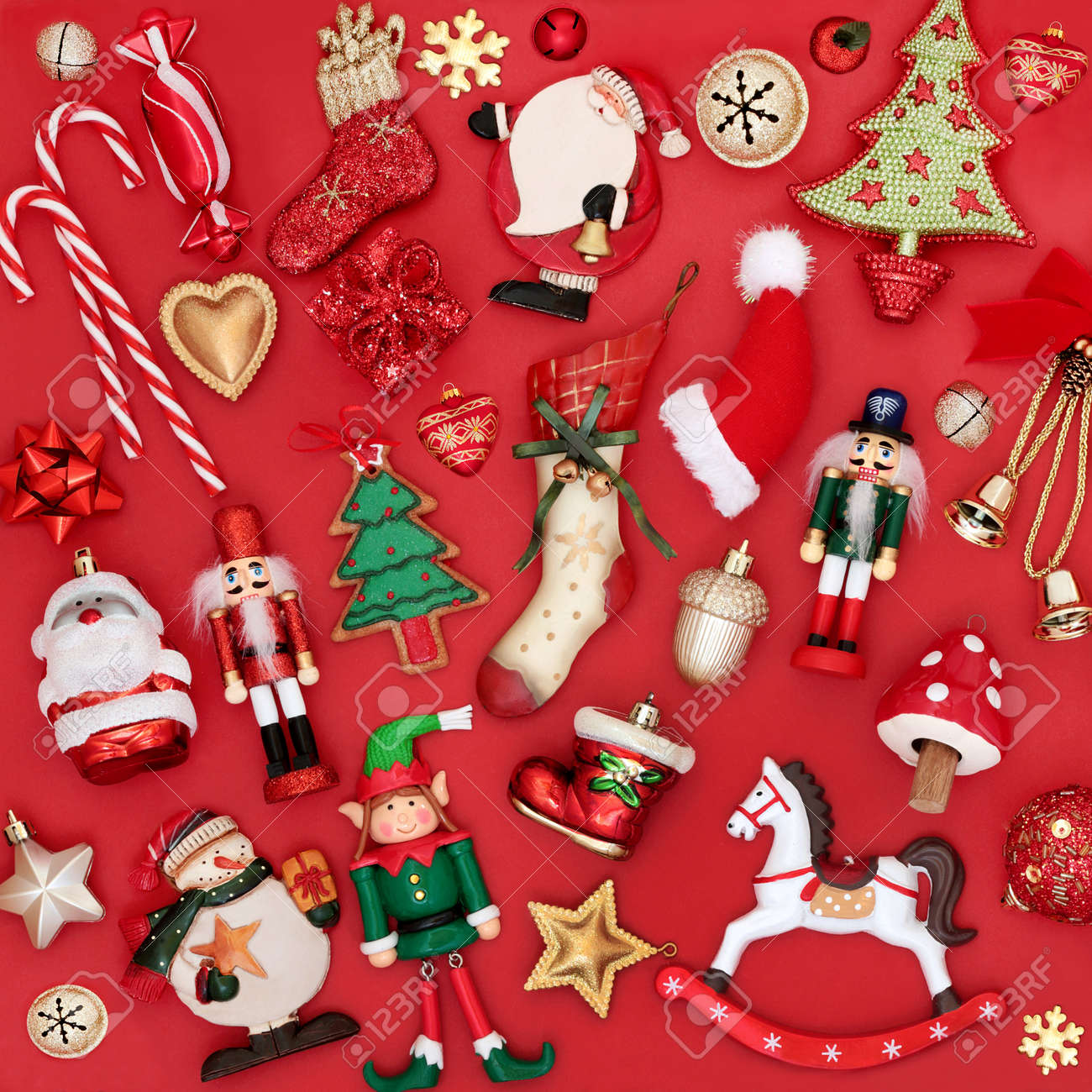 Christmas Decorations And Tree Ornaments On Red Background Traditional Stock Photo Picture And Royalty Free Image Image 133509316