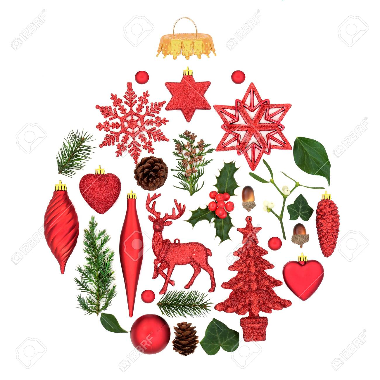 Christmas Tree Decorations With Winter Flora Forming An Abstract Stock Photo Picture And Royalty Free Image Image 134269248