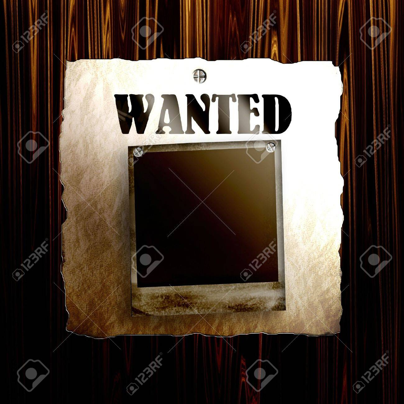Old Wanted Poster On Wood With Blank Old Photo Frame Stock Photo ...