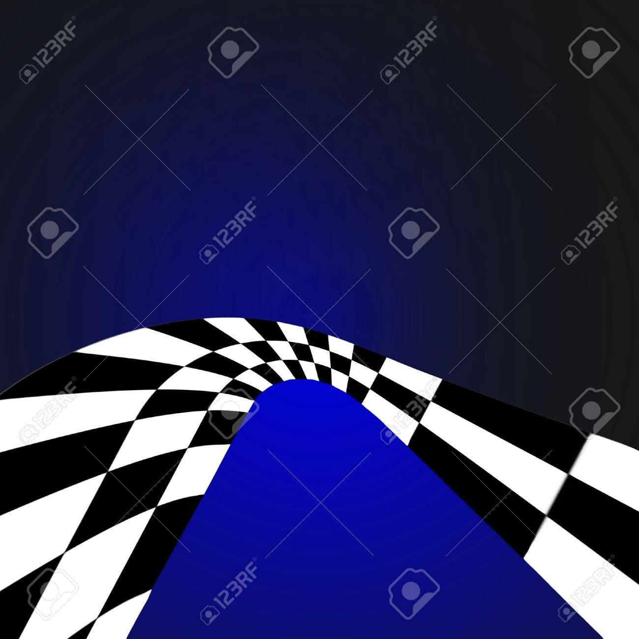 Black And White Checkered Retro Curve On Blue Gradient Stock Photo - 5408050