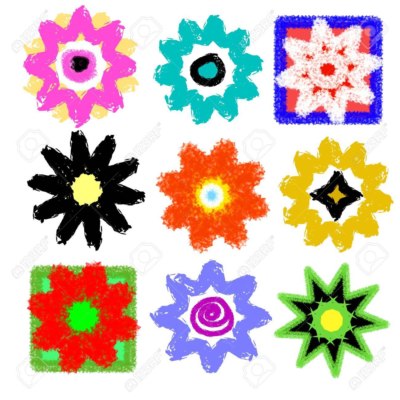 Grunge Flower Power Set, High Resolution Stock Photo - 5429787